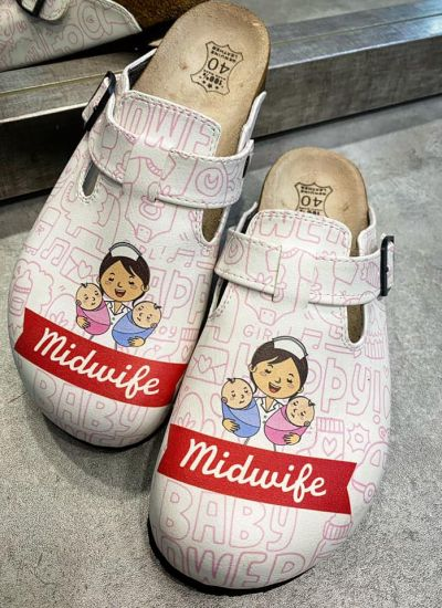 MIDWIFE LEATHER CLOGS WITH BELT - WHITE