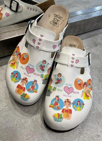 MOM LEATHER CLOGS WITH BELT - WHITE