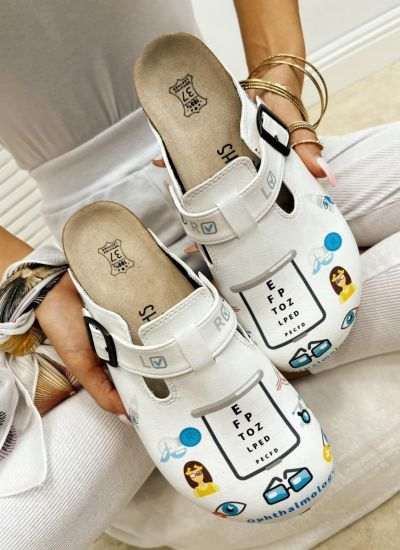 OPHTHAMOLOGY LEATHER CLOGS WITH BELT - WHITE