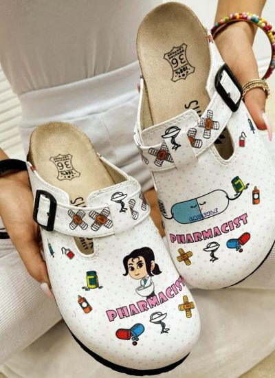 PHARMACIST LEATHER CLOGS WITH BELT - WHITE