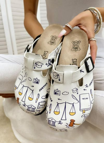 JUDGES LEATHER CLOGS WITH BELT - WHITE