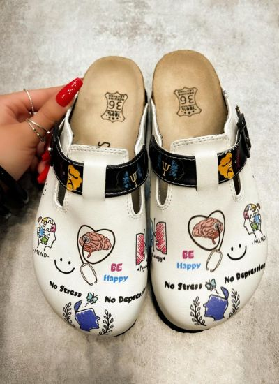 BE HAPPY LEATHER CLOGS WITH BELT - WHITE