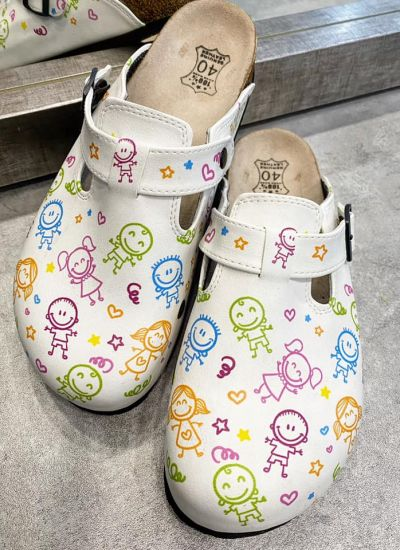 LEATHER CLOGS KIDS TIME WITH BELT - WHITE