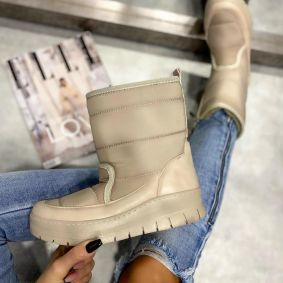 TEXAPORE ANKLE BOOTS WITH VELCRO BAND - LIGHT BEIGE