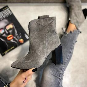 VELOUR POINTED ANKLE BOOTS WITH ZIPPER AND THICK HEEL - GRAY