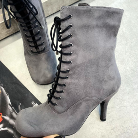 VELOUR LACE UP ANKLE BOOTS WITH THIN HEEL - GRAY