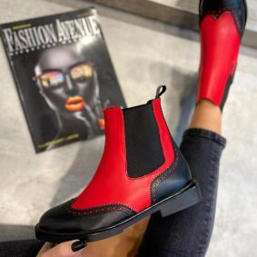 FLAT ANKLE BOOTS WITH RUBBER - BLACK/RED