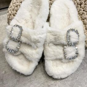 FLUFFY SLIPPERS WITH ZIRCONS - WHITE