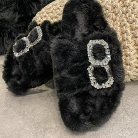 FLUFFY SLIPPERS WITH ZIRCONS - BLACK