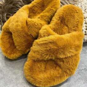 CROSS - STRAP FLUFFY SLIPPERS - CAMEL