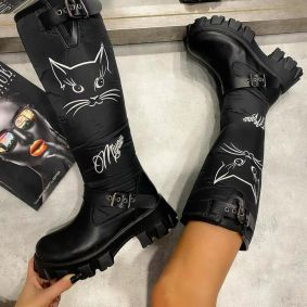 MEOW WATERPROOF BOOTS  - BLACK
