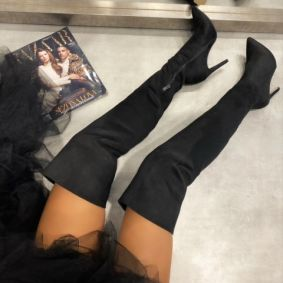 VELOUR HIGH BOOTS WITH THIN HEEL - BLACK