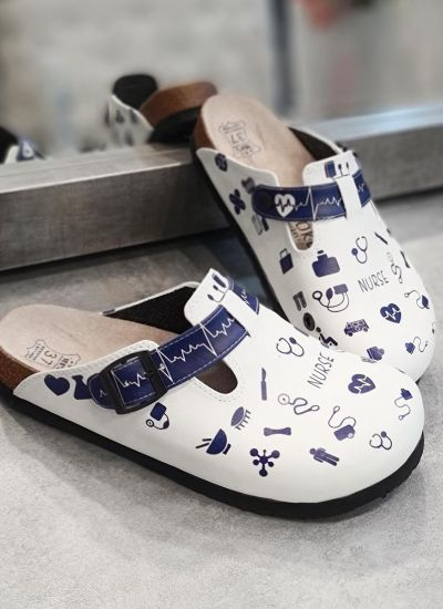NURSE LEATHER CLOGS WITH BELT - WHITE