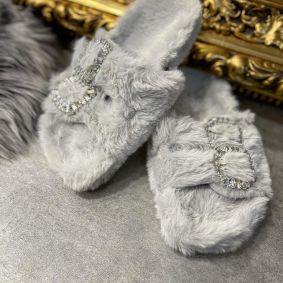 FLUFFY SLIPPERS WITH ZIRCONS - GRAY