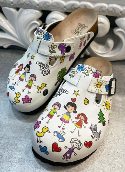LEATHER CLOGS FOR EDUCATOR AND BELT - WHITE