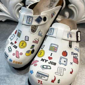 I LOVE MY JOB LEATHER CLOGS WITH BELT - WHITE