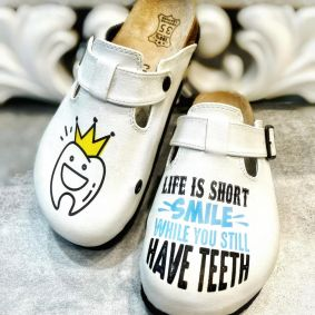 DENTIST LEATHER CLOGS SMILE WHILE YOU STILL HAVE TEETH - WHITE