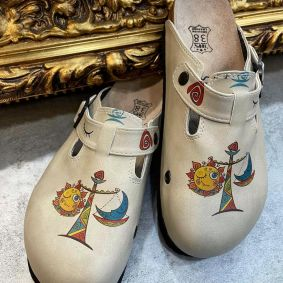 MOON AND SUN LEATHER CLOGS WITH BELT - BEIGE