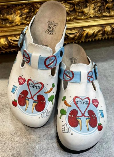 DIALYSIS LEATHER CLOGS WITH BELT - WHITE
