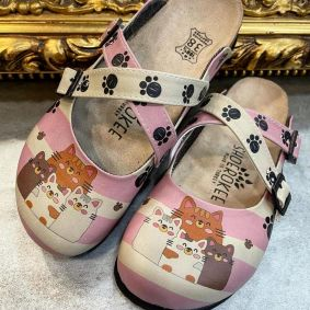 PAW LEATHER CLOGS WITH BELT - BEIGE/ROSE