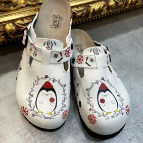 PINGUIN LEATHER CLOGS WITH BELT - WHITE