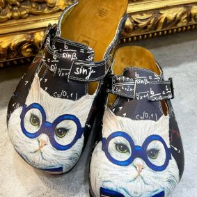 CAT LEATHER CLOGS WITH BELT - NAVY BLUE