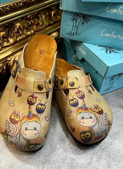 UNICORN AND OWL LEATHER CLOGS WITH BELT - BEIGE