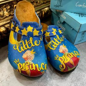 LITTLE PRINC LEATHER CLOGS WITH BELT - BLUE