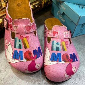 HI MOM LEATHER CLOGS WITH BELT - ROSE