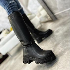 PULL ON HIGH SOLE BOOTS - BLACK