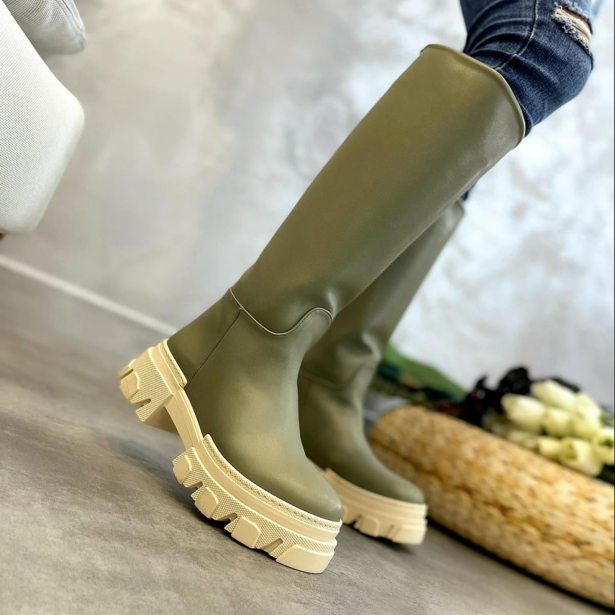 PULL ON HIGH SOLE BOOTS - OLIVE