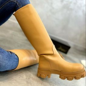 PULL ON HIGH SOLE BOOTS - DARK BEIGE