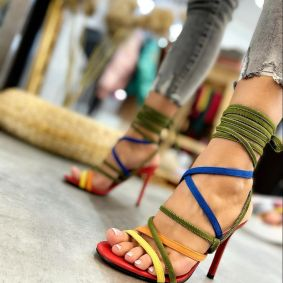 THIN HEEL LACE UP SANDALS - RED/OLIVE/BLUE