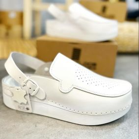 MENS FREE STEP LEATHER CLOGS WITH BELT - WHITE