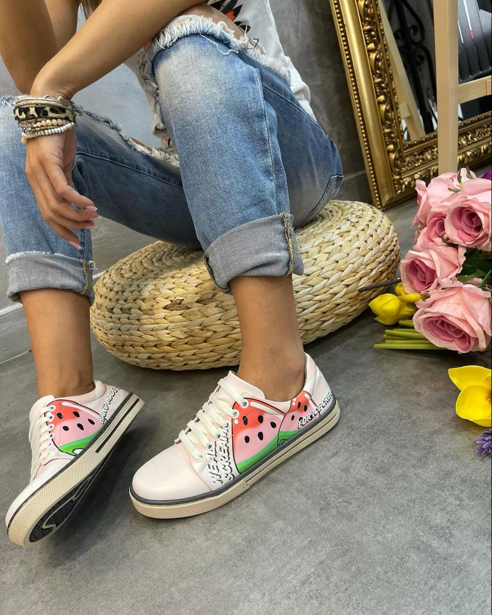 WATERMELON LACE UP SNEAKERS - ROSE