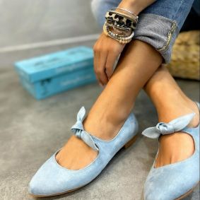 VELOUR FLATS WITH BOW - BLUE
