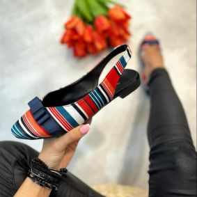 STRIPED FLATS WITH BOW - NAVY BLUE/RED