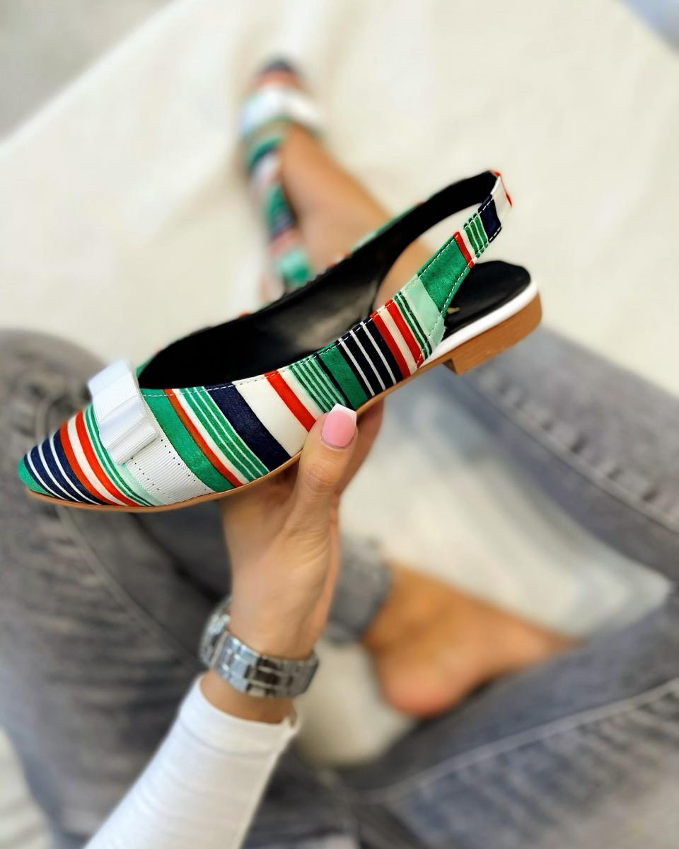 STRIPED FLATS WITH BOW - GREEN