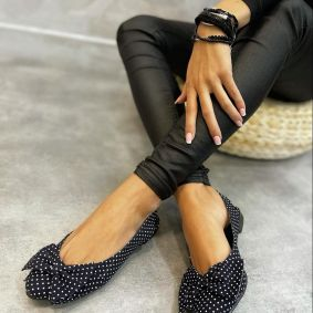 FLATS WITH DOTS AND BOW - NAVY BLUE/WHITE