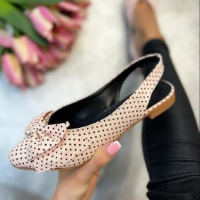 FLATS WITH DOTS AND BOW - POWDER ROSE