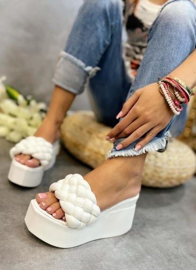WEDGE KNITTED SLIPPERS - WHITE