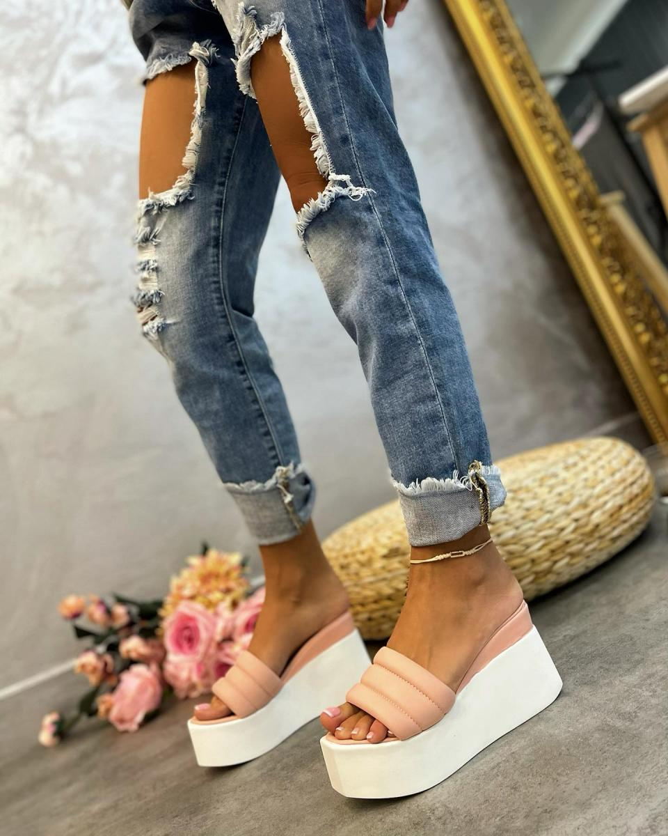 WEDGE SLIPPERS - ROSE