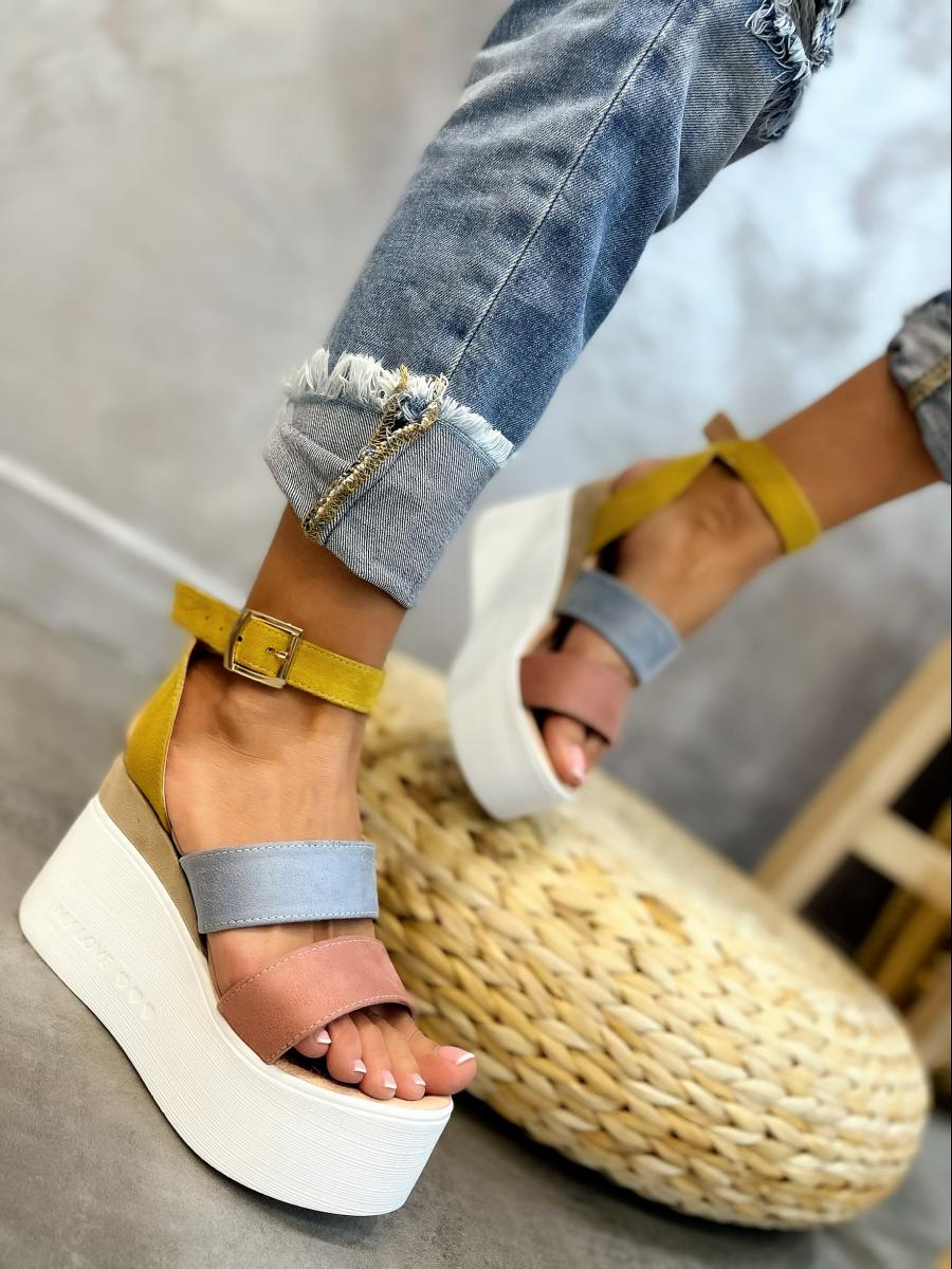 VELOUR PLATFORM SANDALS - ROSE/BLUE/OCHRE