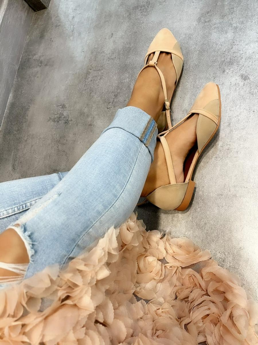 VELOUR FLATS WITH BELTS - BEIGE