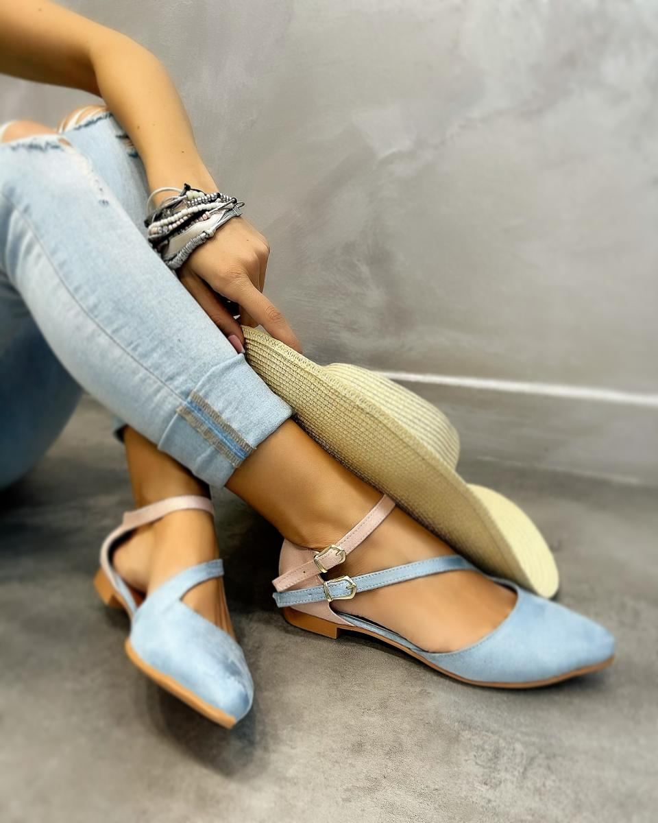 VELOUR FLATS WITH BELTS - BLUE/ROSE