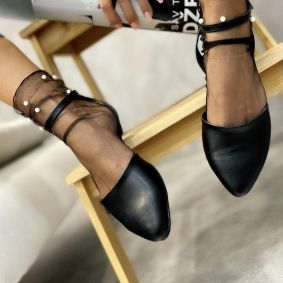 OPEN FLATS WITH BELT - BLACK