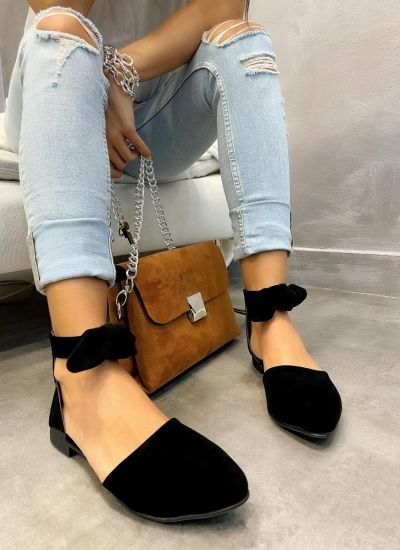 VELOUR FLATS WITH BOW - BLACK