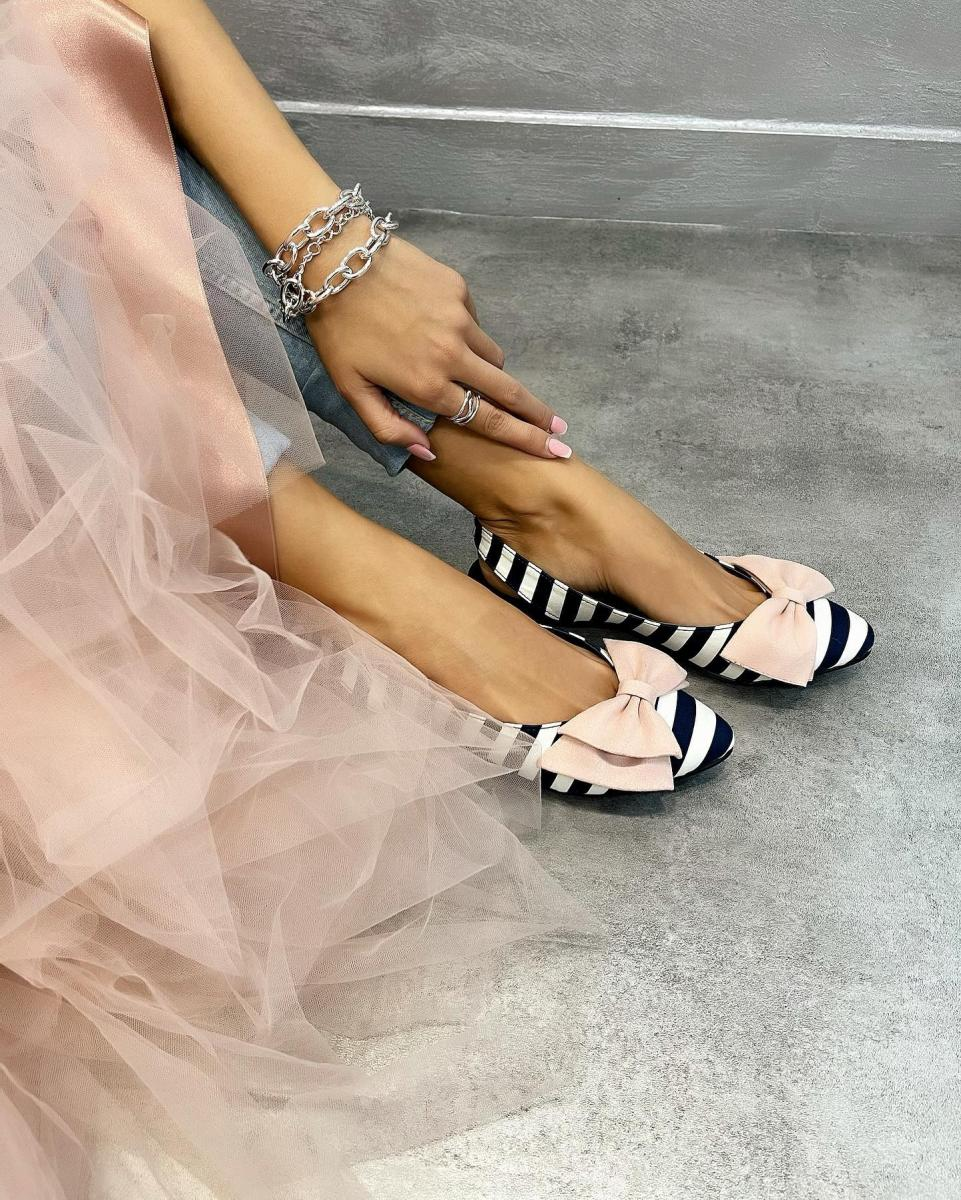 FLATS WITH STRAPS AND ROSE BOW - NAVY BLUE/WHITE