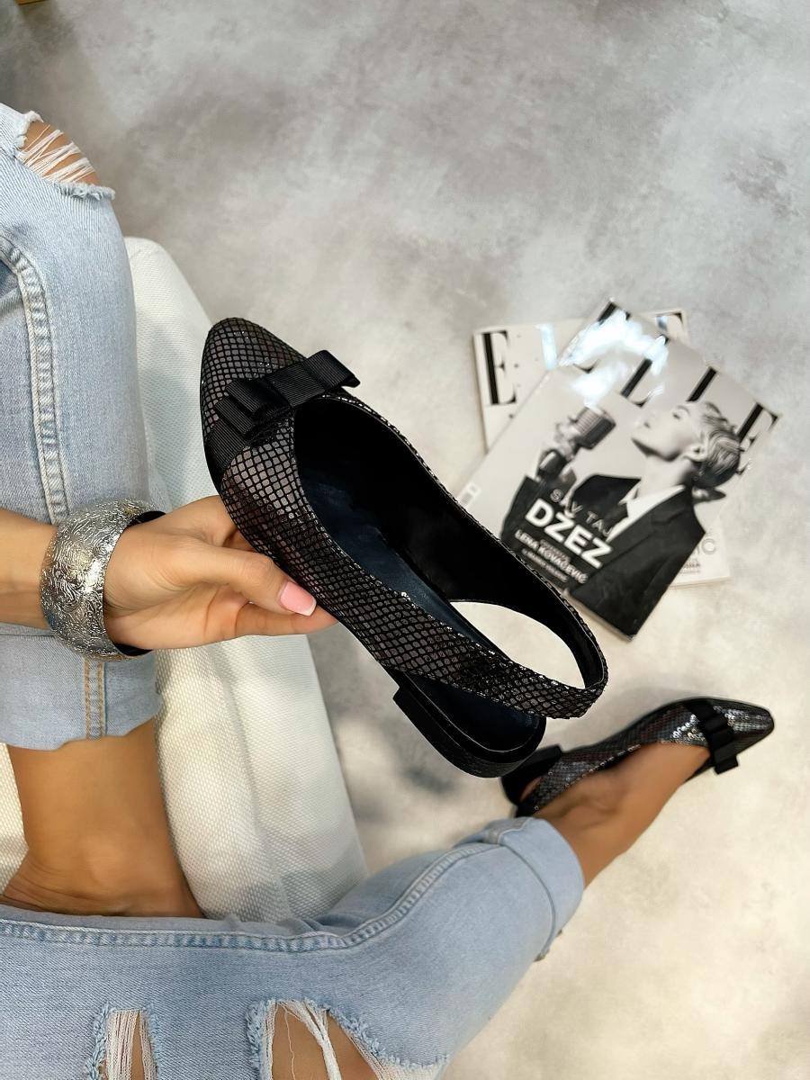 VELOUR FLATS WITH BELTS - GRAPHITE/BLACK