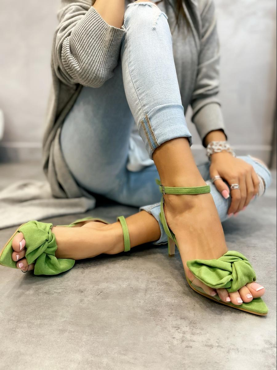 VELOUR SPIKE SANDALS THIN HEEL WITH BOW - GREEN